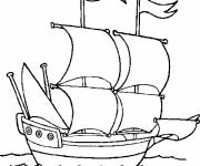 Coloring pages A sailing ship in the sea