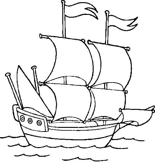 Free coloring and drawings A sailing ship in the sea Coloring page