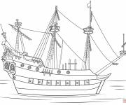 Coloring pages A stylized pirate ship