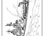 Coloring pages American warship to print