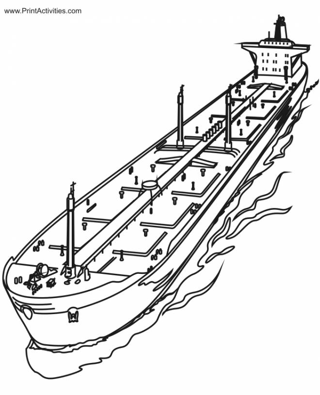 Free coloring and drawings An Oil Boat Coloring page