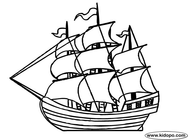 Free coloring and drawings Antique sailing boat Coloring page