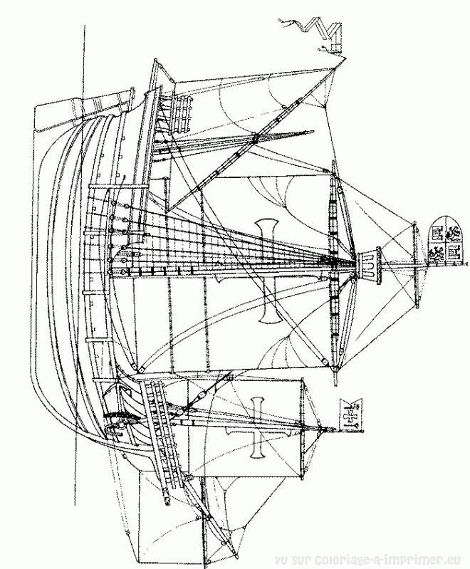 Free coloring and drawings Antique ship Coloring page