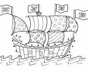 Free coloring and drawings Boat with pirate flags Coloring page