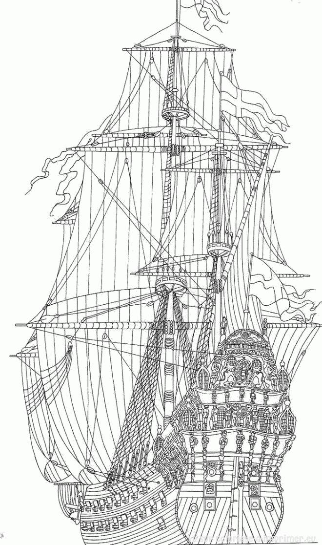 Free coloring and drawings British antique ship Coloring page