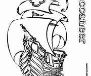 Free coloring and drawings Buccaneer Pirate Ship Coloring page