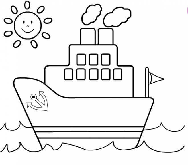 Free coloring and drawings Color boat Coloring page