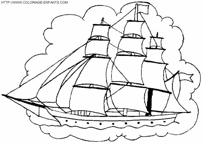 Free coloring and drawings Coloring Pirate Ship Coloring page