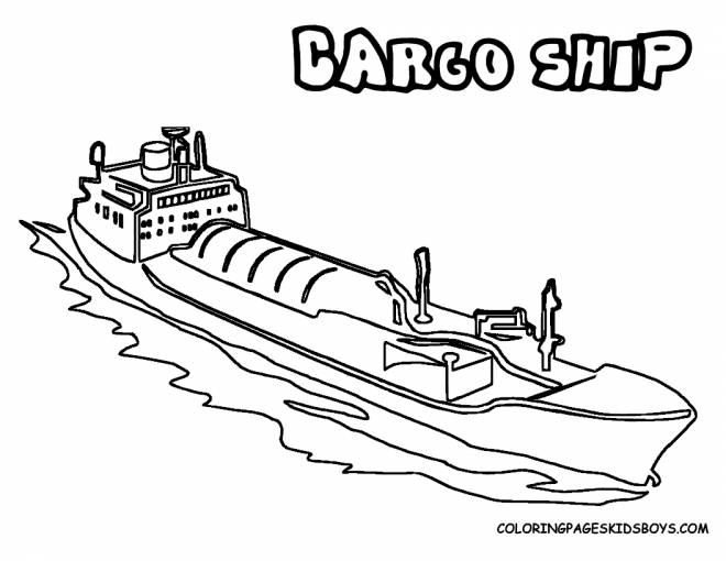 Free coloring and drawings Commercial boat Coloring page