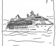 Coloring pages Cruise ship under the sun