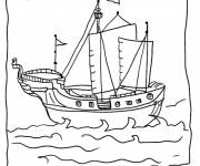 Coloring pages Easy to color Pirate Ship