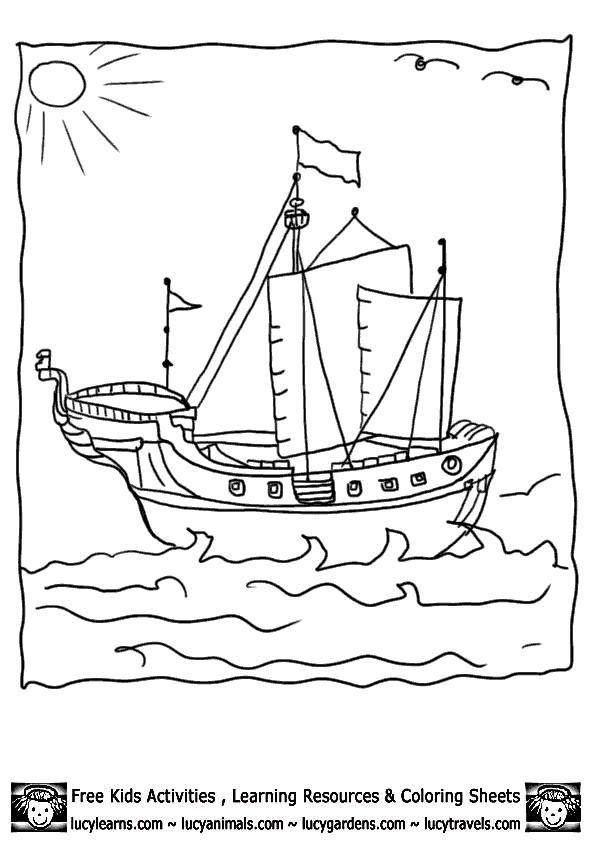 Free coloring and drawings Easy to color Pirate Ship Coloring page