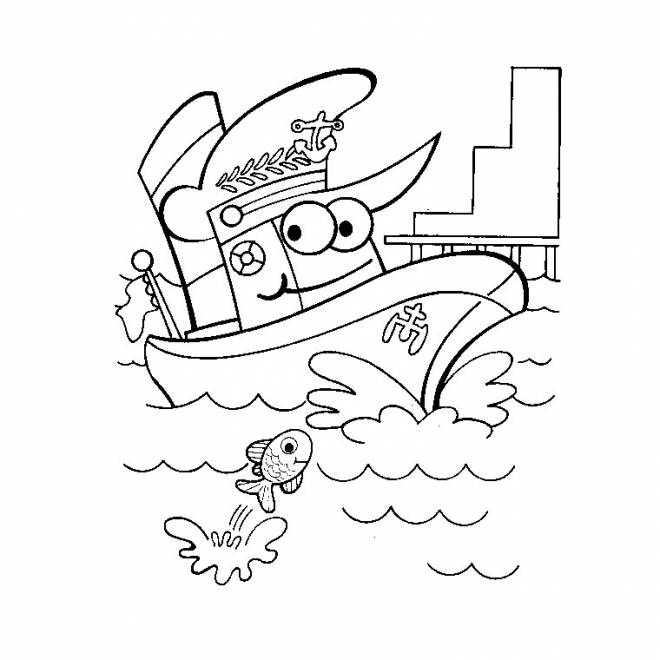 Free coloring and drawings Funny boat Coloring page