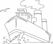 Coloring pages Landscape Boat in the sea
