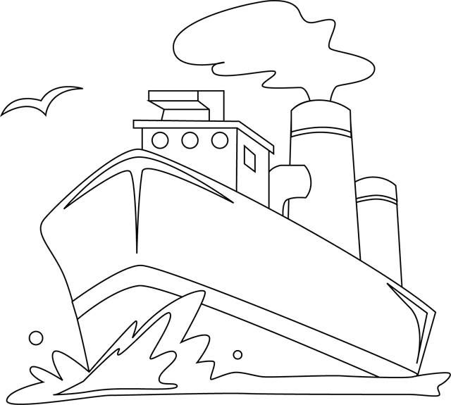 Free coloring and drawings Landscape Boat in the sea Coloring page