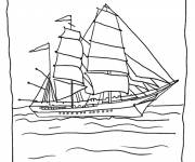 Coloring pages Large sailboat with crapon