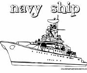 Coloring pages Military ship to cut