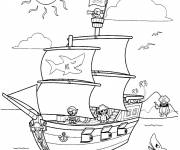 Coloring pages Pirate Ship and Treasure Island