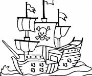 Coloring pages Pirate ship in black and white