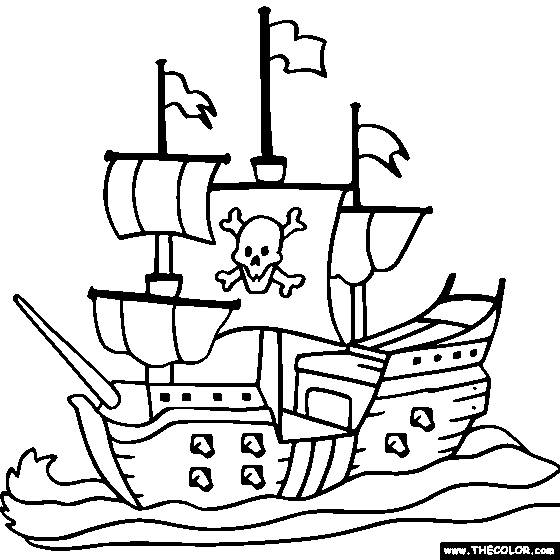 Free coloring and drawings Pirate ship in black and white Coloring page