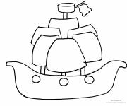 Free coloring and drawings Pirate ship to decorate Coloring page