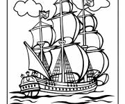 Free coloring and drawings Portrait Pirate Ship Coloring page