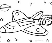 Free coloring and drawings Rocket in the universe Coloring page