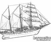 Free coloring and drawings Sailing barquentine Coloring page