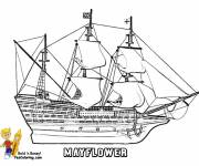 Coloring pages Sailing ship Mai flower