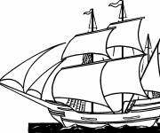 Coloring pages Ship makes its voyage in the ocean