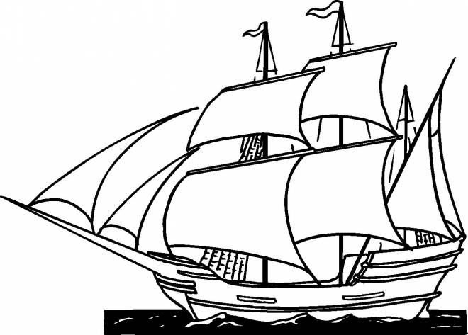 Free coloring and drawings Ship makes its voyage in the ocean Coloring page