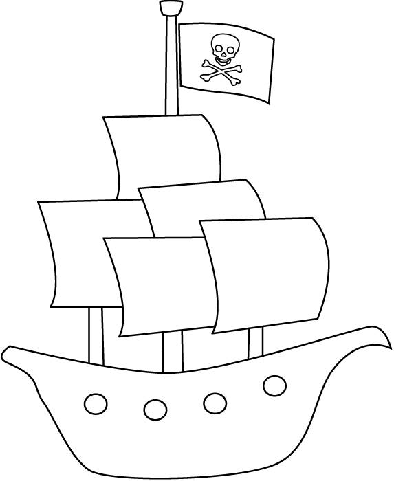 Free coloring and drawings simple pirate ship online Coloring page
