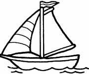 Coloring pages Single sailing boat