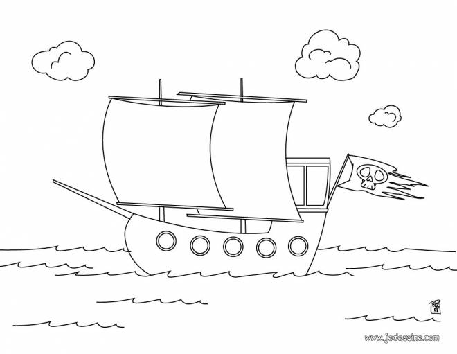 Free coloring and drawings Small pirate ship for children Coloring page
