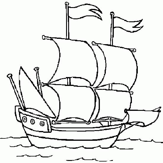 Free coloring and drawings Stylized ship Coloring page