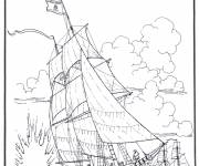 Coloring pages Warship of antiquity