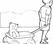 Coloring pages Child and Wagon