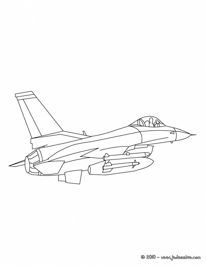 Free coloring and drawings American War Plane F16 Coloring page