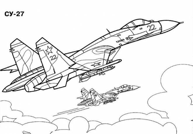 Free coloring and drawings Cy-27 War Plane Coloring page