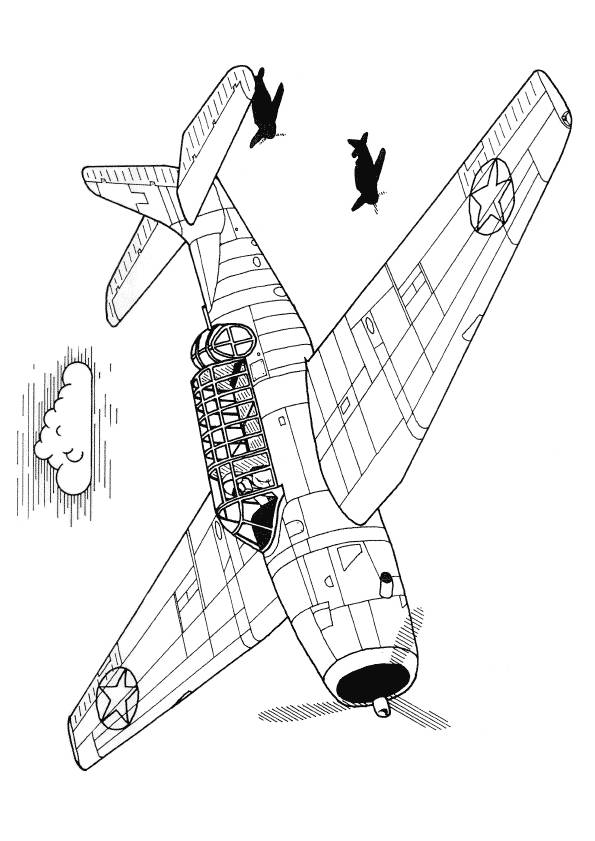 Free coloring and drawings Fighter planes on mission Coloring page