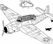 Free coloring and drawings Old war plane Coloring page