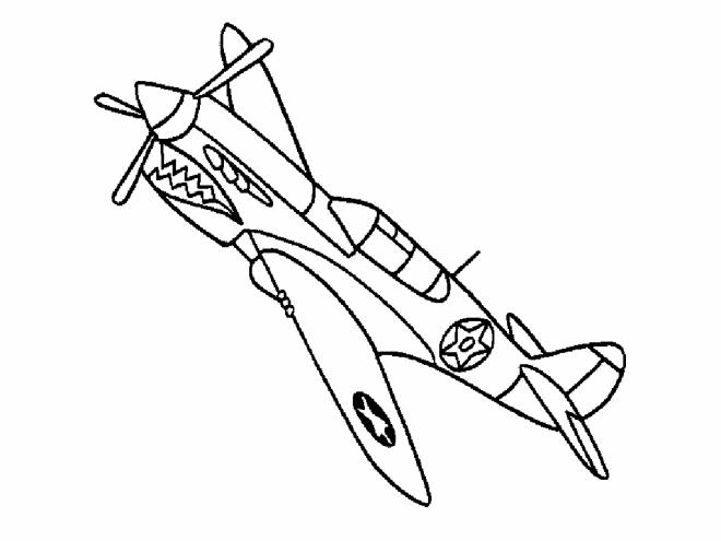 Free coloring and drawings Single Fighter Plane Coloring page