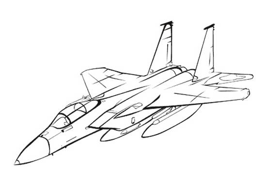 Free coloring and drawings Stylized Fighter Plane Model Coloring page