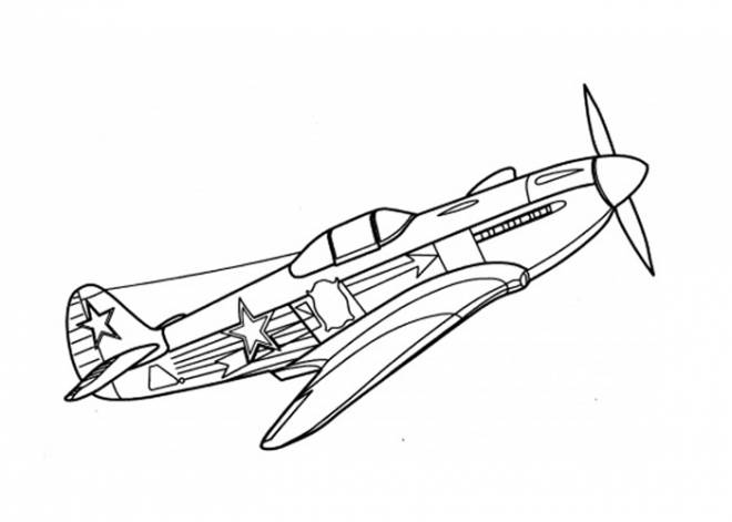 Free coloring and drawings War plane 14-18 Coloring page