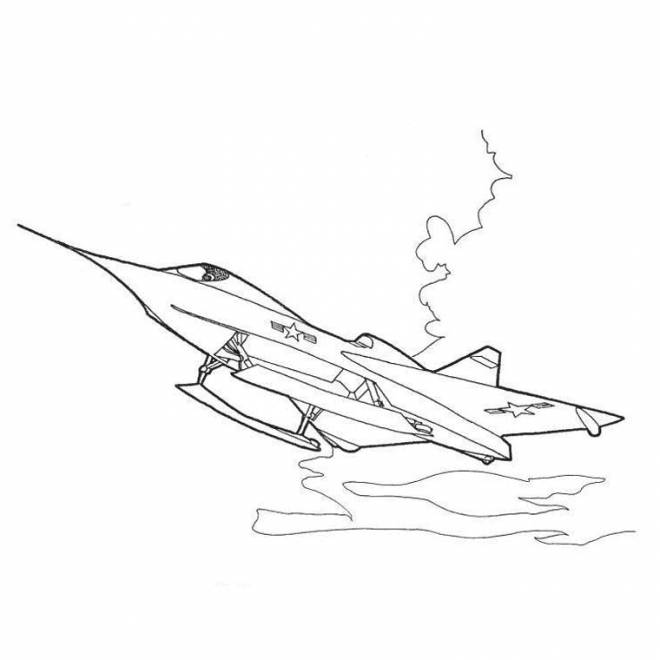 Free coloring and drawings War plane F 16 Coloring page