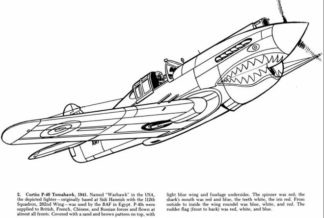 Free coloring and drawings Warhawk War Plane Coloring page