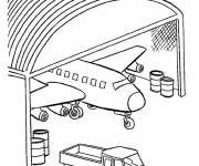 Coloring pages Warplane in the garage