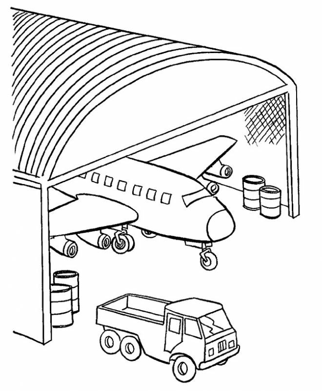 Free coloring and drawings Warplane in the garage Coloring page