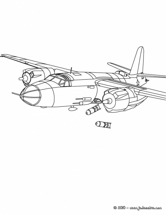 Free coloring and drawings Warplane launches bombs Coloring page