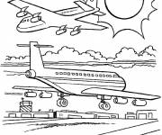 Coloring pages Warplanes at the airport